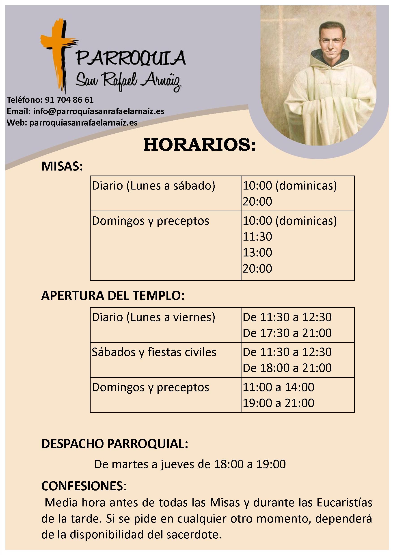Horario de las actividades de la parroquia